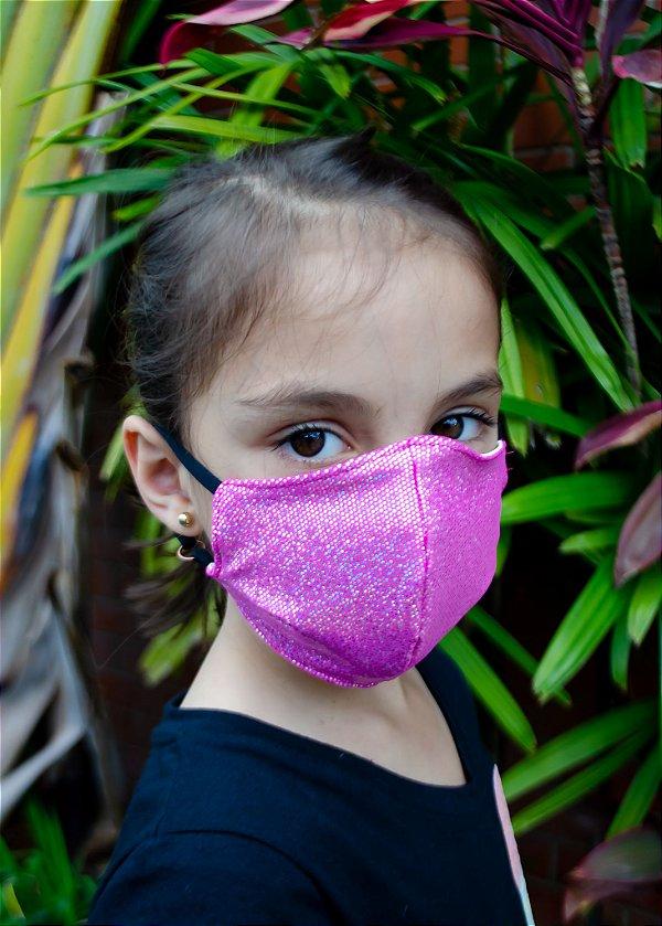 Máscara Infantil Pink Brilhante