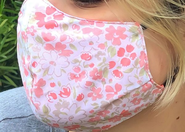 Máscara Infantil florido laranja