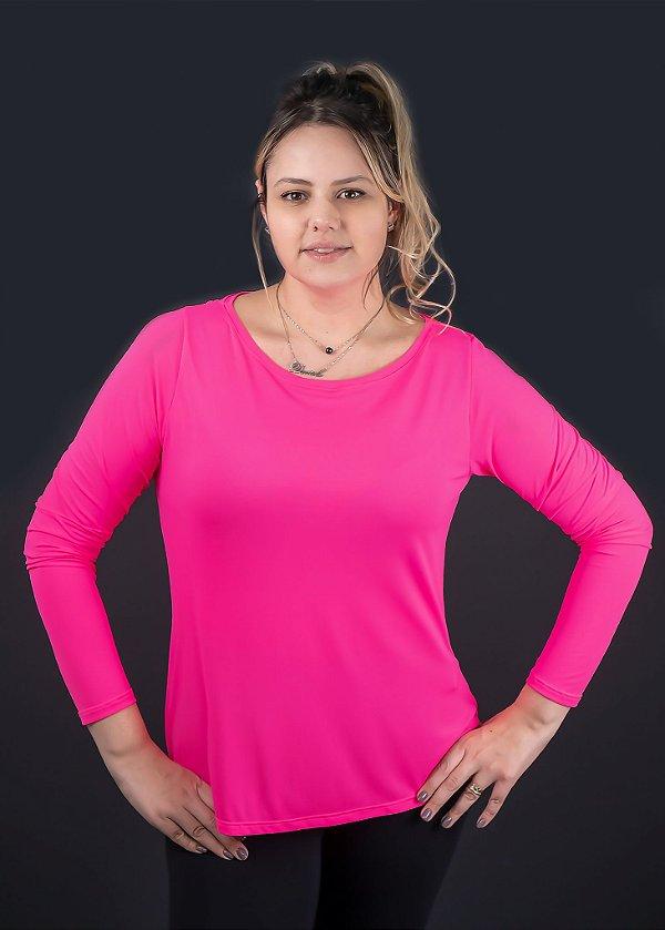 T-shirt Adulto Crepe Pink Manga Longa