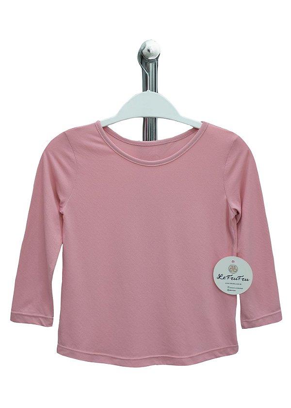 T-shirt Infantil Crepe Rosa Bebê Manga Longa