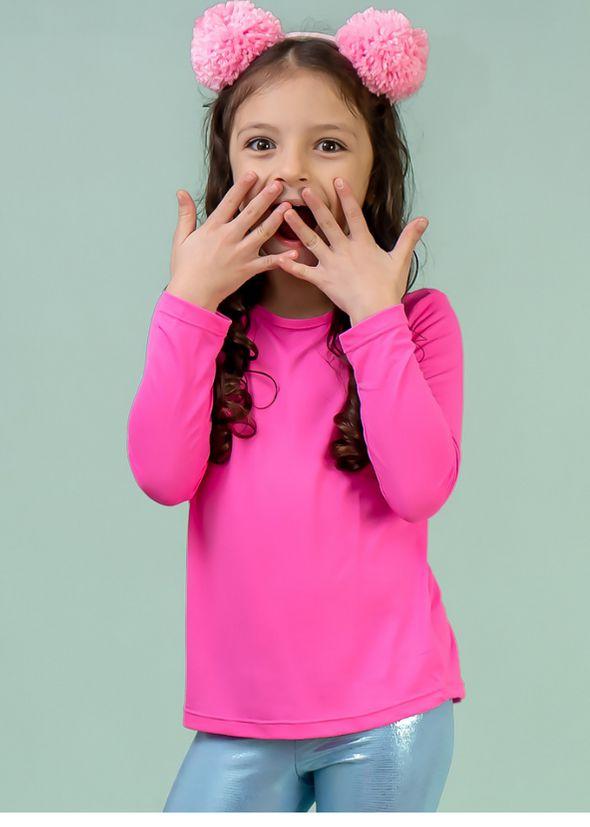 T-shirt Infantil Crepe Rosa Chiclete Manga Longa