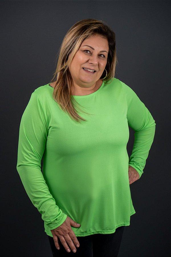 T-shirt Adulto Crepe Verde Neon Manga Longa