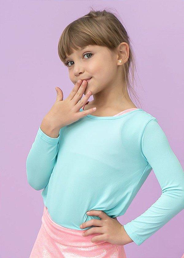 T-shirt Infantil Crepe Tiffany Manga Longa