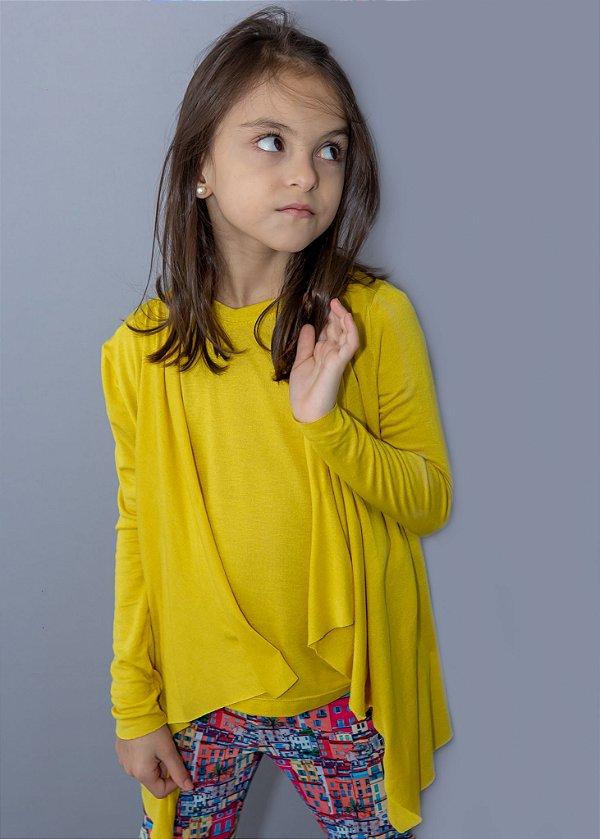 Easy kit Infantil Cardigan + T-Shirt Mostarda