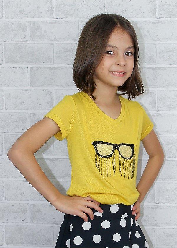 T-shirt em Visco Com Óculos Mostarda