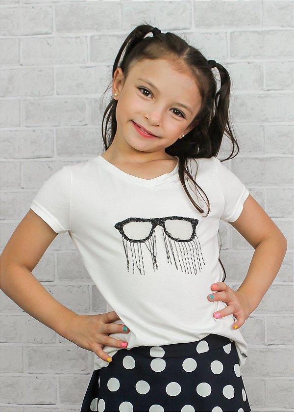 T-shirt em Visco Com Óculos Off White