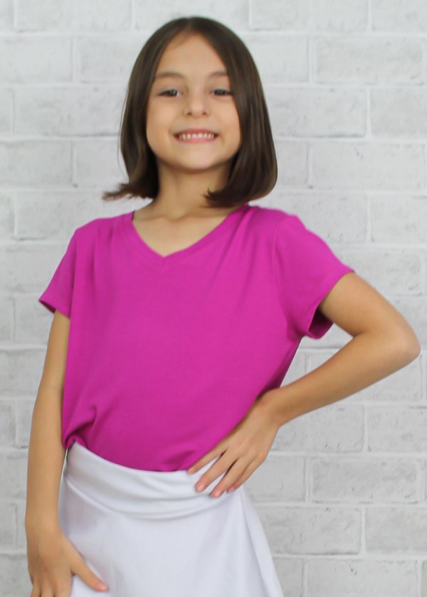T-shirt em Visco Rosa Pink Infantil