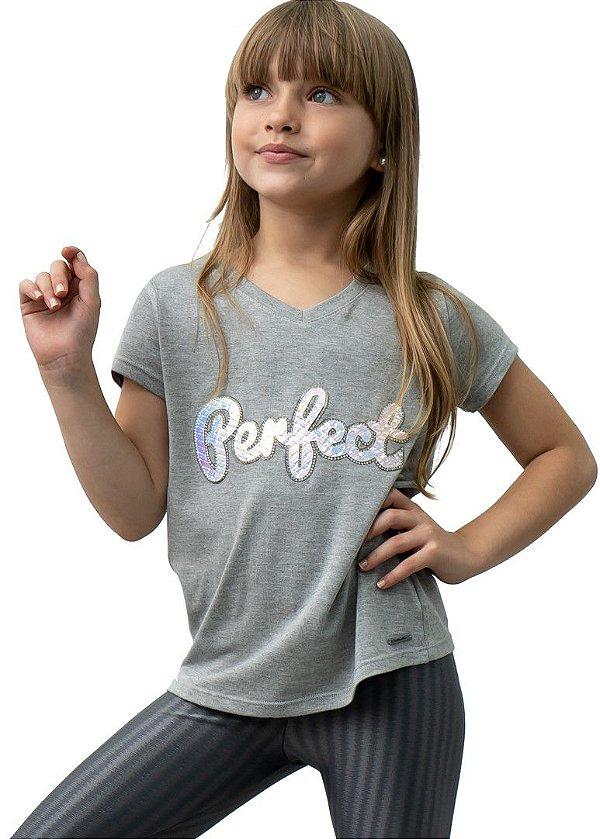 T-shirt em Visco Mescla Infantil com bordado Perfect