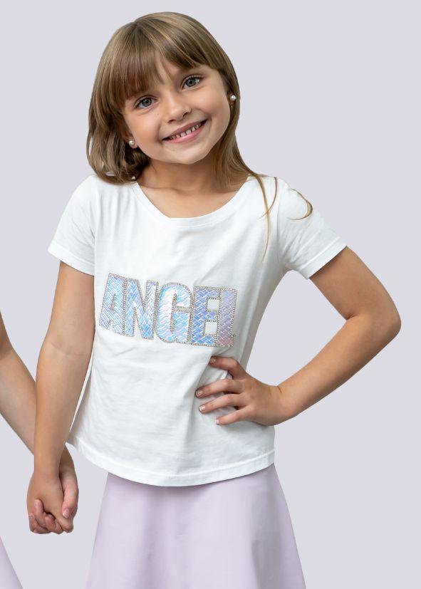 T-shirt Decote Canoa com Aplicação Angel