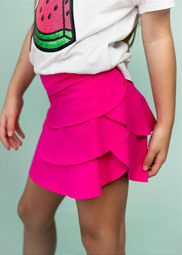 Shorts Saia Em Camadas Pink Neon