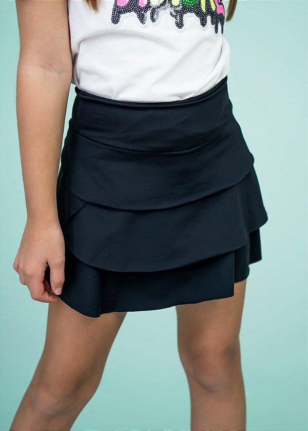 Shorts Saia Em Camadas Black