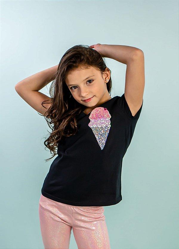 T-shirt Sorvete Preta Infantil