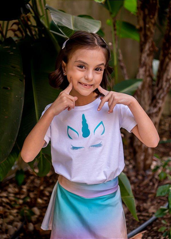 T-shirt Decote Canoa Unicórnio Aqua