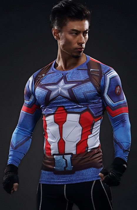 Camisa Capitão America Manga Longa