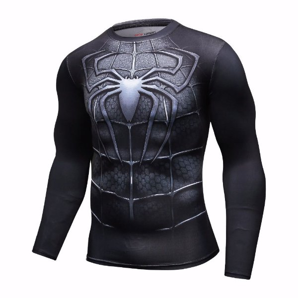 3b9b3b3a9 Camisa Camiseta Modelo Homem Aranha Black Manga Longa Compressão ...