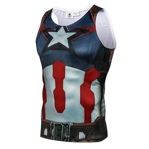 Camisa Camiseta Capitão América - Primeiro Vingador Regata ... de2e36b4b4b