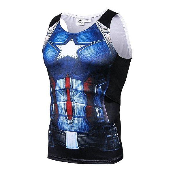 Camisa Camiseta Capitão América - Hq Regata Compressão Térmica e 3D ... ac5d6445c04