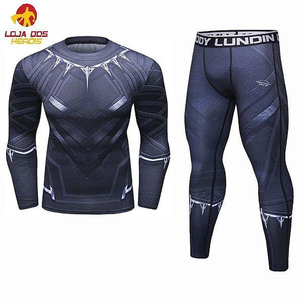 f6afbe23d0159 Conjunto Heróis Calça Legging + Camisa Camiseta Pantera Negra ...