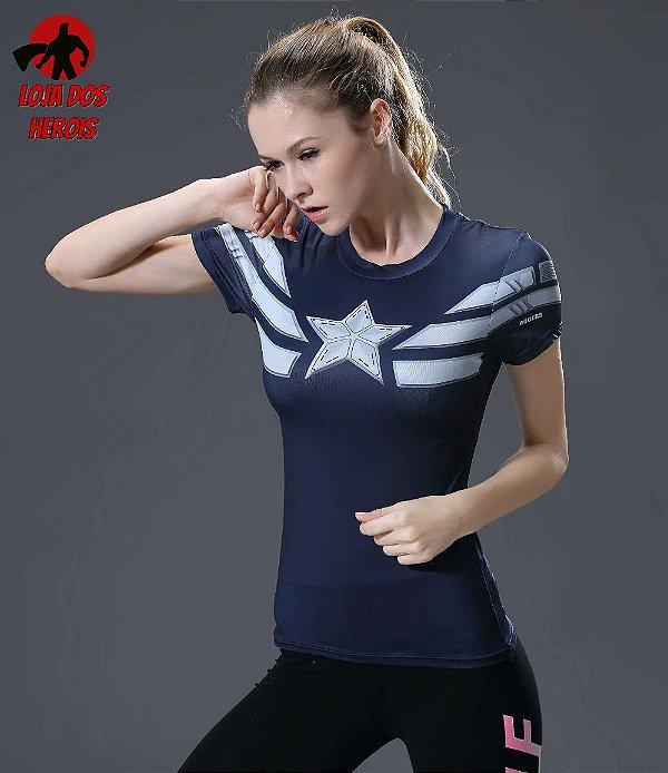566b77ab7 Camisa Feminina Capitão América Vingadores - Primeiro Vingador Manga ...