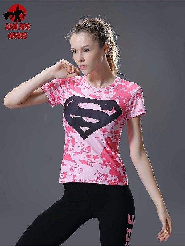 Camisa Feminina Superman Rosa