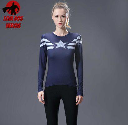 Camisa Feminina Capitão América Primeiro Vingador - Manga Longa