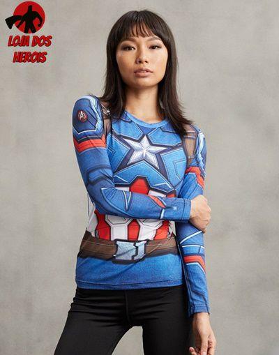 Camisa Feminina Capitão América Filme - Manga Longa