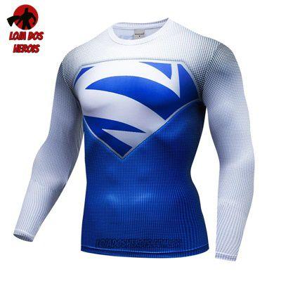 Camiseta Superman Elétrico Azul Manga