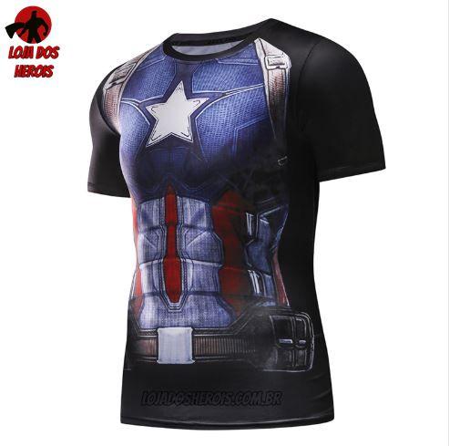 Camisa/Camiseta Capitão América Clássico Compressão