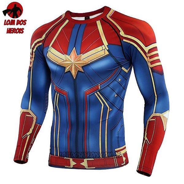 Camisa/Camiseta Capitã Marvel Filme 2019 Manga - Vingadores Ultimato Endgame