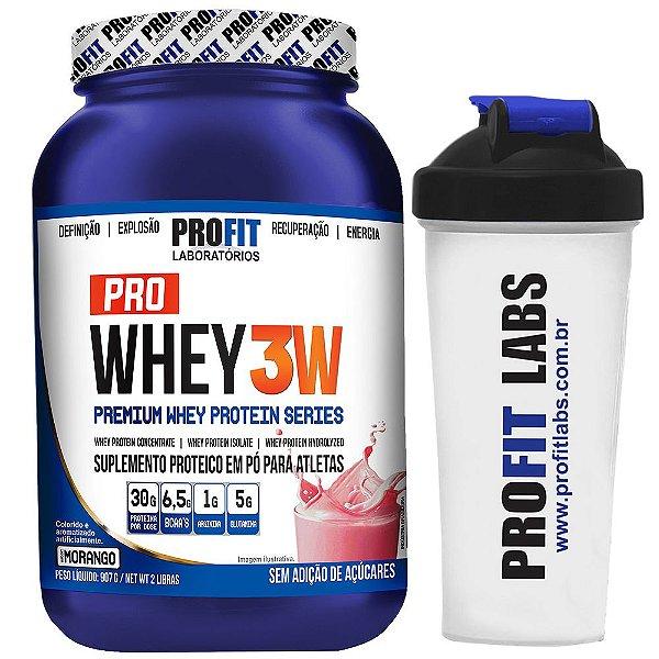 Pro Whey 3W + 907 gramas - Profit - Morango