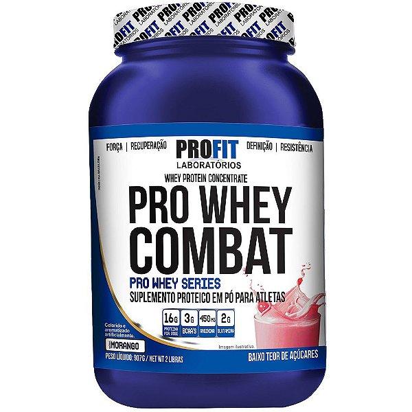 Pro Whey Combat - 907 gramas - Profit - Morango
