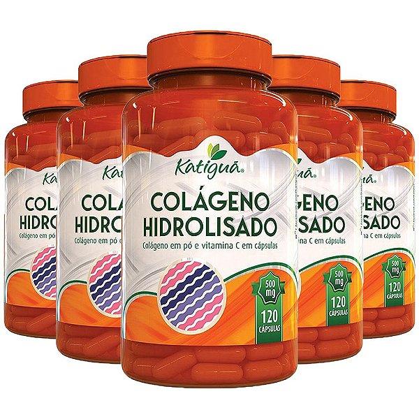 Colágeno Hidrolisado com Vitamina C - 5 unidades de 120 Cápsulas - Katigua