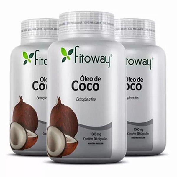 Óleo de Coco 1000mg - 3x 60 cápsulas - Fitoway