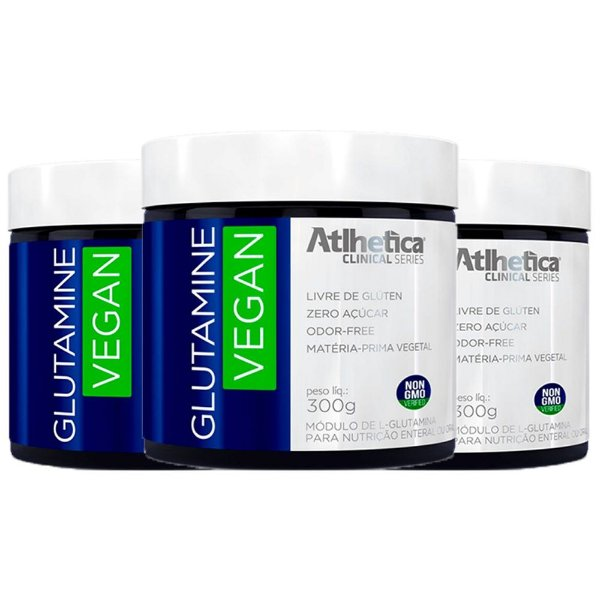 Glutamine Vegan - 3 unidades de 300 Gramas - Atlhetica
