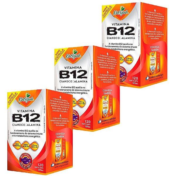 Vitamina B12 Cianocobalamina - 3 unidades de 120 Cápsulas - Katigua