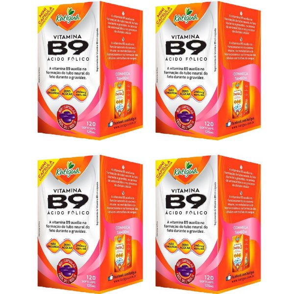 Vitamina B9 Ácido Fólico - 4 unidades de 120 Cápsulas - Katigua