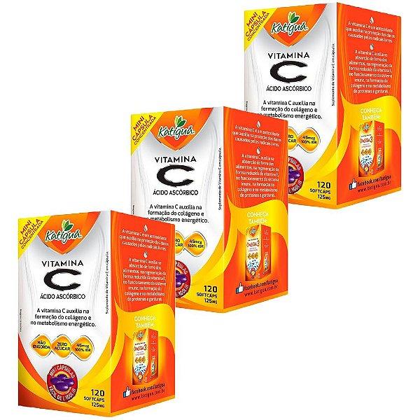Vitamina C Ácido Ascórbico - 3 unidades de 120 Cápsulas - Katigua