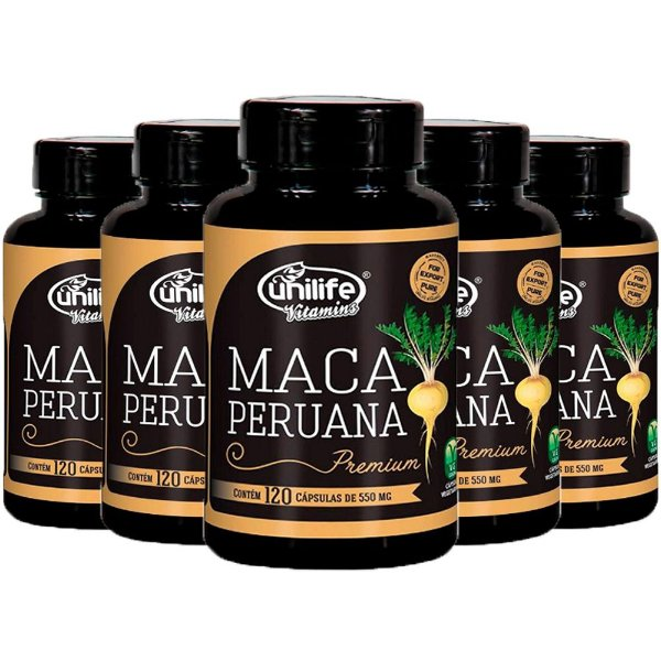 Maca Peruana Premium - 5 unidades de 120 Cápsulas - Unilife