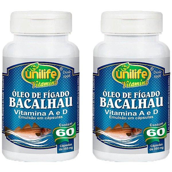 Óleo de Fígado de Bacalhau 350mg - 2 unidades de 60 cápsulas - Unilife