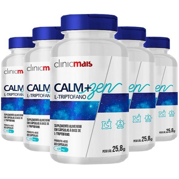 Calm+Zen L-Triptofano - 5 unidades de 60 Cápsulas - Clinic Mais