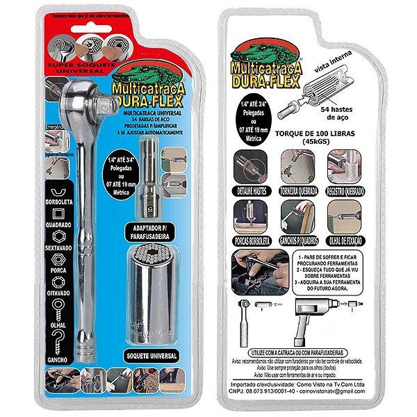 Gator Grip Official Kit +Soquete 7/19mm +  Catraca Aço Carb+Adapt p/Parafusadeira DuraFlex®