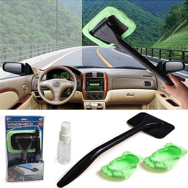 Escova de Parabrisas p/Automóveis Wind Shield - Preto com almofada de microfibra Verde