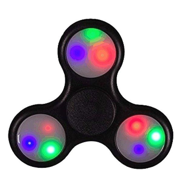 Fidget Hand Spinner LED Preto (Desenhos)