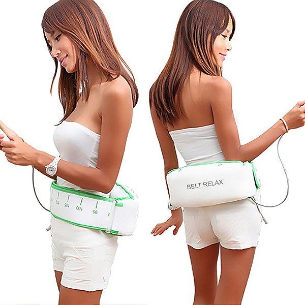 Cinta Vibratória Modeladora Alta Performance Belt Relax® Branca com detalhes em Verde Bivolt