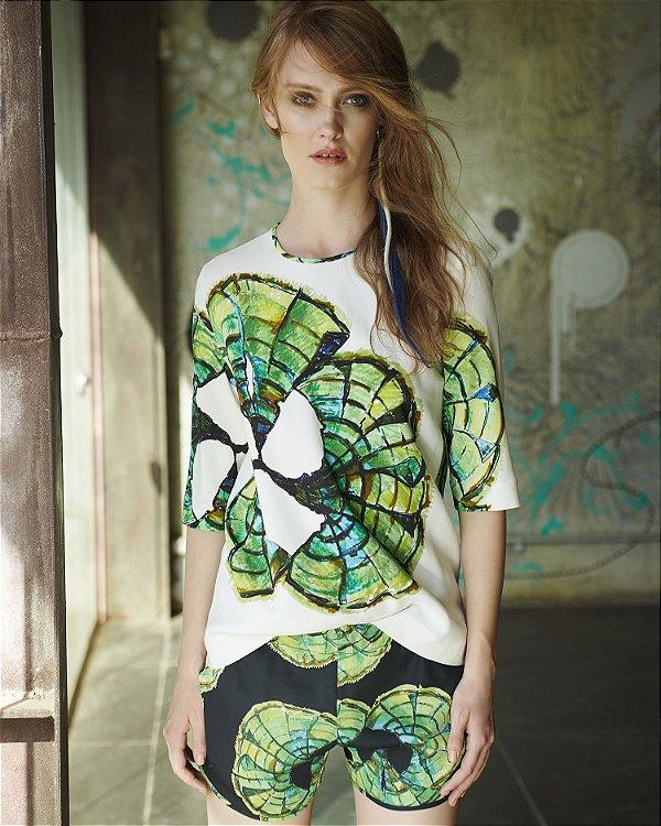 Blusa T-Shirt Crepe Leque