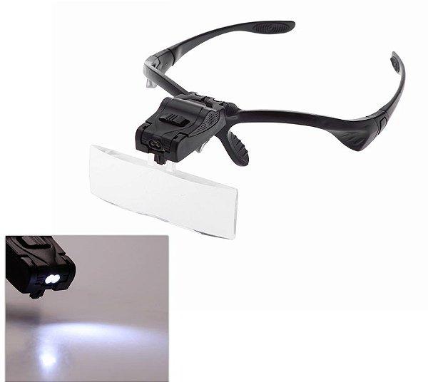 Óculos Lupa De Cabeca Com 5 Lentes e led duplo 9892B