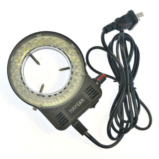 Lampada para Microscopio 56 LED Anel Ajustável Hayear Preto