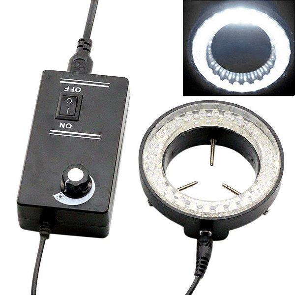 Lampada para Microscopio 60 LED 6500K Anel Ajustável Preto