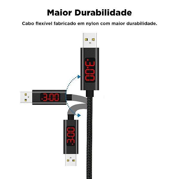 Cabo Topk LED Medidor de Voltagem e Amperagem 8 pin iPhone