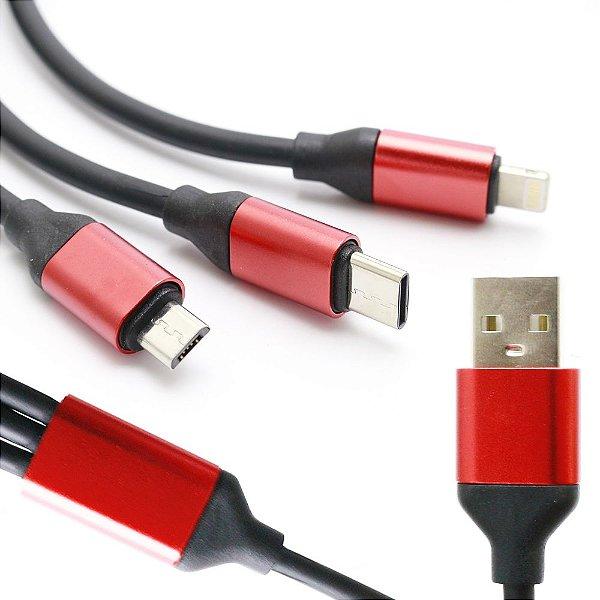 Cabo USB 3 em 1 Micro USB Tipo C  Lightning Preto e Vermelho